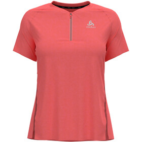 Odlo Axalp Trail T-Shirt S/S 1/2 Zip Women, rojo